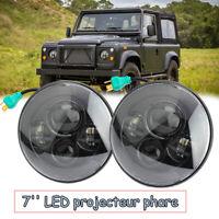 """Pour Land Rover Defender Paire 7"""" H4 LED projecteur phare 90 110 TD4 TD5 Noir"""