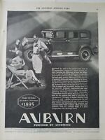 1929 Auburn model 120 sedan car golfer golf clubs vintage original ad