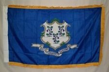 3x5 Connecticut State Poly Nylon Sleeve w/ Gold Fringe Flag 3'x5' Banner
