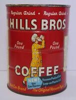 Old Vintage 1963 HILLS BROTHERS COFFEE GRAPHIC 1 POUND TIN TALL SAN FRANCISCO CA