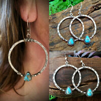 Women 925 Silver Earrings Women Vintage Turquoise Dangle Drop Hook Boho Jewelry
