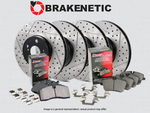 [F&R] BRAKENETIC PREMIUM Drill Slot Brake Rotors +POSI QUIET Pads 370mm BPK57945