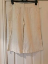 Marks and Spencer Cropped Trousers White Size 12 Short Linen Mix