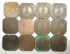 12 British Malaya one 1 cent coppper coins 1941i 1941 i key date, KGVI George VI