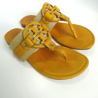 Tory Burch Amanda Yellow Leather & Textile Thong Sandals Size US 7