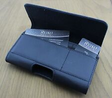 Horizontal Leather Side Case Pouch Clip Belt Loops Holster w/ Two Card Pockets