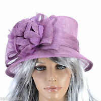 Chapeau Femme BIBI cérémonie mariage  100% SISAL violet  RHAPSODY zaza2cats