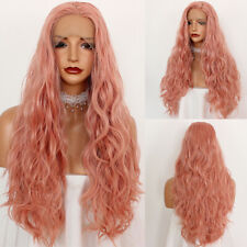 Pink Synthetic Lace Front Wigs Heat Resistant Hair Long Loose Wavy Fashion Women