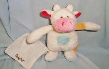 Doudou Vache & son Mouchoir Blanche à Taches  Velours Baby Nat (15cm)