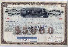 1930's Michigan Central Railroad Company $5,000 Bond Stock Certificate New York