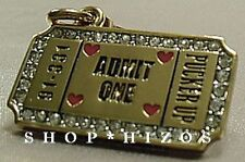 AUTHENTIC JUICY COUTURE 2010 PAVE KISSING BOOTH TICKET CHARM NIB