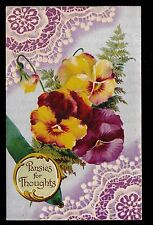 c1912 B.B. London Silver Moire Lace Pansies for your Thoughts Greetings postcard