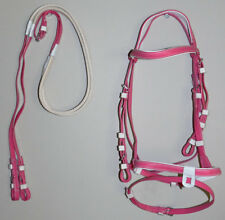 PVC Pink Hanoverian Eventing Bridle & Reins Size Small Pony