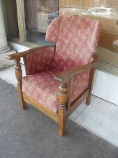 Vintage Oak Reclining Armchair / Vintage Oak Upholstered Chair