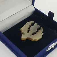 VINTAGE Scottish Thistle Brooch Carved Early Plastic Celtic Clan Pin Kilt Lapel