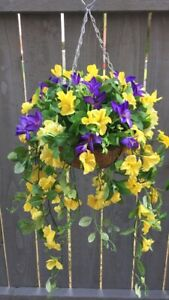 Beautiful  Yellow/purple Artifical Trailing Hanging Basket Ready To Hang