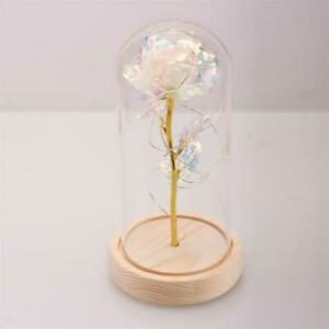 Crystal Colorful Gold Rose Flower in glass dome LED Valentine's Romantic Gift