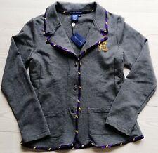 New RALPH LAUREN BLUE LABEL Blazer Jacket Logo Embroidery Pockets Cotton Grey M