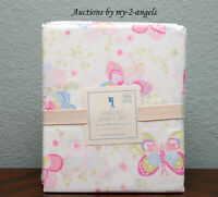 NEW RARE Pottery Barn Kids ORGANIC LINDSEY BUTTERFLY Queen Sheet Set GIRLS/PINK