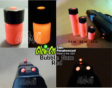 Glow-On® BUBBLE GUM RED glow paint.Gun sights and fishing lures, 4.6 ml vial