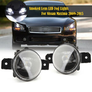 LED Bulb Fog Light Lamp For Nissan Maxima 2009-2015 Smoked Lens PAIR Replacement