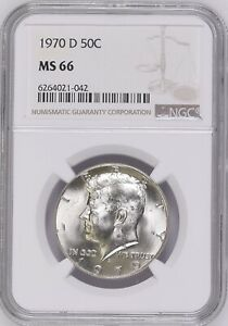 1970-D 50C Kennedy Half Dollar NGC MS66   6240021-042