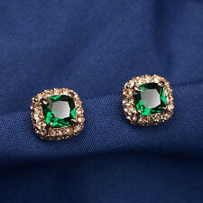 18K GOLD PLATED GENUINE EMERALD CZ & AUSTRIAN CRYSTAL SQUARE STUD EARRINGS