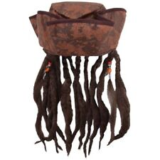 Caribbean Jack Sparrow Pirate Fancy Dress Hat With dreadlocks Hair & Beads
