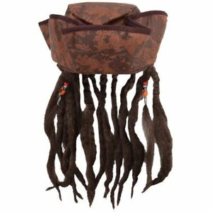 Caribbean Jack Sparrow Pirate Fancy Dress Hat With dreadlocks Hair & Beads