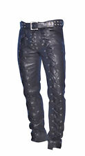 Men's Real Leather Bikers Pants Laces Up Front And Back Leather Pants X78