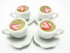 Set 4 Cups Strawberry Tea Dollhouse Miniatures Food Drink Beverage #S 10058