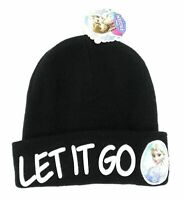 "Disney Frozen Childrens Winter Hat Beanie One Size ""Let It Go"" Black"