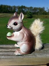 Porcelain Squirrel Chipmunk Real Fur Tail & Acorn Nut Coin Bank Vintage Kitsch