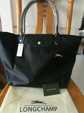 Longchamp Le Pliage Nylon Large Tote Bag Leather Strap Handles Handbag Black