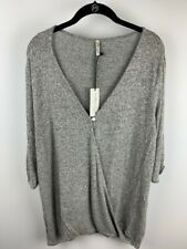 Mother Bee Maternity Womens Sweater Gray Marled Stretch Knit V Neck Plus 2XL New