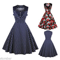 Vintage Polka Dot Skull 50's ROCKABILLY Swing Pin Up Housewife Party Retro Dress