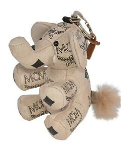 New MCM $270 Zoo Beige Visetos Canvas ELEPHANT Keychain Charm Ring
