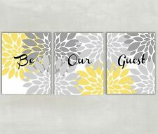 Be Our Guest Floral Wall Art in Yellow and Gray  set of 3  8x10 Prints