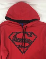 Red Superman Black Cracked Logo Pullover Hoodie Men's Size L
