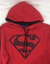 Red Superman Black Cracked Logo Pullover Hoodie Men's Size L