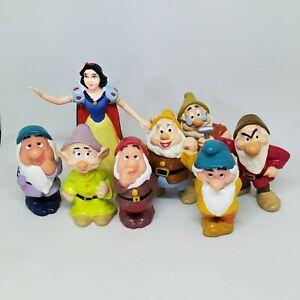 Vintage Snow White & the Seven Dwarfs PVC Figure Lot Disney Cake Topper Applause