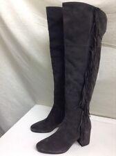 FRYE Jodi Fringe Suede Over-The-Knee Boot, Smoke Gray 9.5 $598
