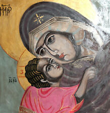 THE VIRGIN MARY AND CHRIST CHILD HAND PAINTED TEMPERA WOOD ORTHODOX ICON