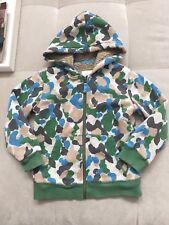 Mini Boden Boys Sherpa Hooded Jacket Coat Size 6-7 Como Beige Blue Green