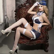 Halloween Costume Cosplay Sexy Lingerie Stewardess Uniform Blue