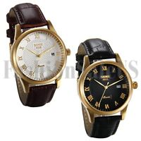Mens Women Date Military Roman Dial Leather Band Analog Quartz Sport Wrist Watch