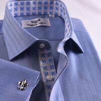 Limited Quatanty Mens Blue Formal Herringbone Business Dress Shirt French Cuffs