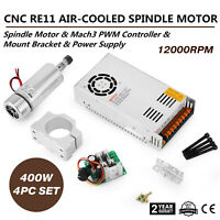 CNC 400W Air-cooled Spindle Motor ER11 & Mach3 PWM speed controller & Mount PSU