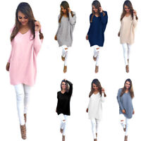 Women Long Sleeve Sweater Sweatshirt Jumper Pullover Tops Blouse Winter Plain