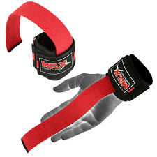 MRX Weight lifting Bar Straps Gym Bodybuilding Wrist Support Wraps Red Bandage